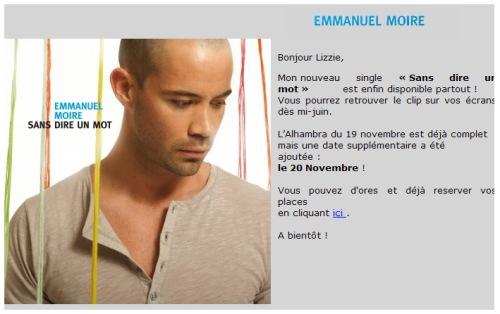 Newsletter sobre o single, avisando que haverá clipe no meio de junho e sobre a nova data para Alhambra - Paris em novembro (a primeira já esgotou)