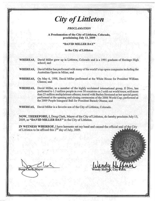 Documento oficial de David Miller Day