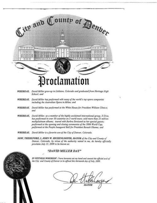 Proclamação David Miller Day